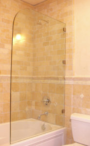 rounded shower glass
