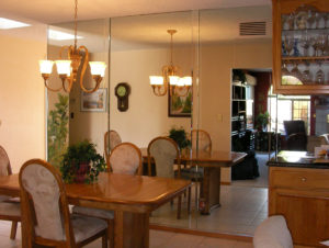 large wall mirrors in dining room